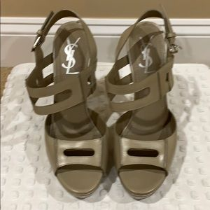 YSL tan heels